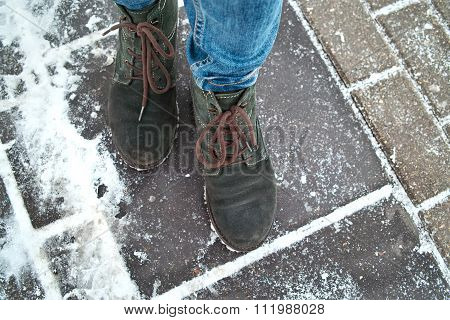 Walking On Slippery Street