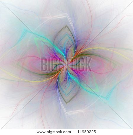 Abstract White Background With Rainbow Or Rose And Blue Color Flower Or Rays In The Center Texture,