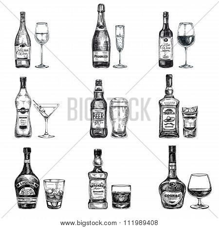 Vector hand drawn illustration with alcoholic drinks.