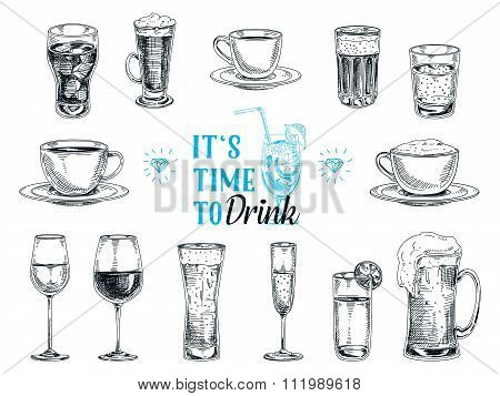 Vector hand drawn illustration with drinks.