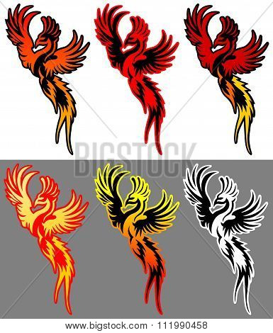 coloured bird phoenix vector illustration