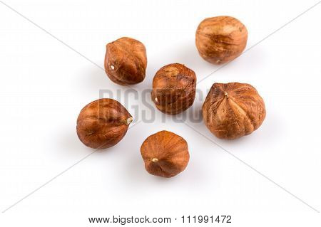 Hazelnuts On The White Background