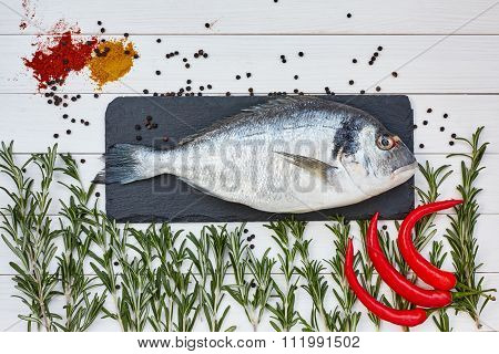 Fresh Dorado Fish On Slate Cutting Board With Rosemary, Chilly Pepper On White Table. Top View, Copy