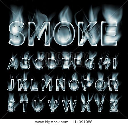 Smoke font collection. Fog and clouds font.
