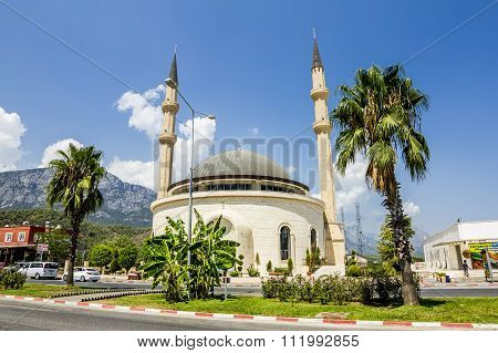 Mosque In Kemer On The Backdrop Of The Mountains, Turkey