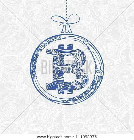 Christmas Decoration With Ornate Symbol Bitcoin. Vector Illustration On Seamless Background Pattern