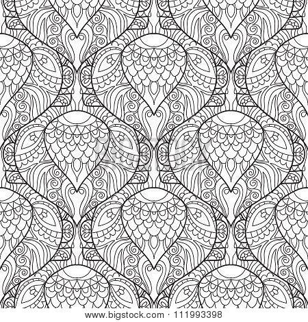 Zentangle stylized peacock feather pattern.