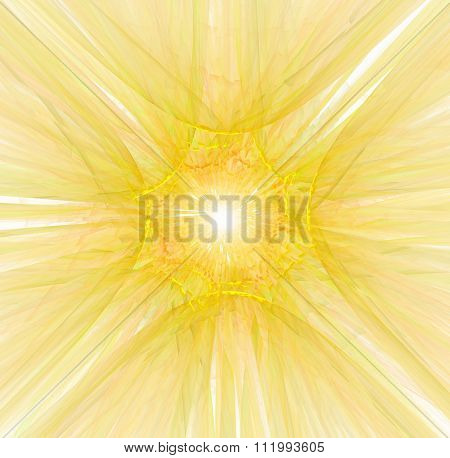 Abstract Yellow And White Background With Sun Rays Shining In The Center Texture, Fractal