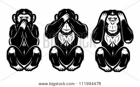 Set Of Three Monkeys - Hear No, See No, Do Not Say