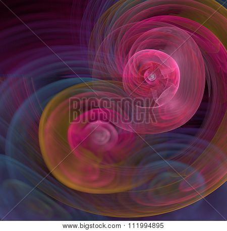 Abstract Black And Pink Background With Rainbow Concentric Spheres Of Smoke, Fractal