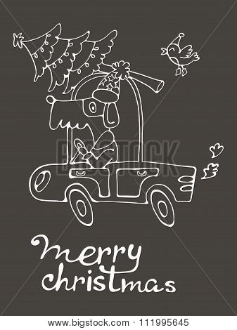 Merry Christmas. Amazing card with cute dog in Santas costume driving with Cristmas tree
