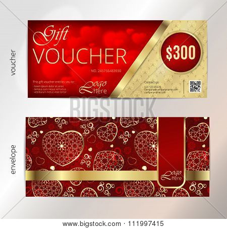 Valentines day gift voucher or coupon with presents and hearts on red background. Eps10 vector illus