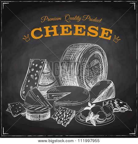 Hand drawn vector illustration with cheese.