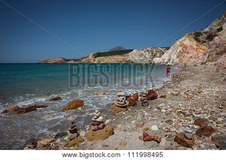 Brightly Colored Stones At Firiplaka Beach, Milos, Greece