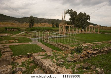 Ruins Of Ancient Greek Temple In Vravrona,