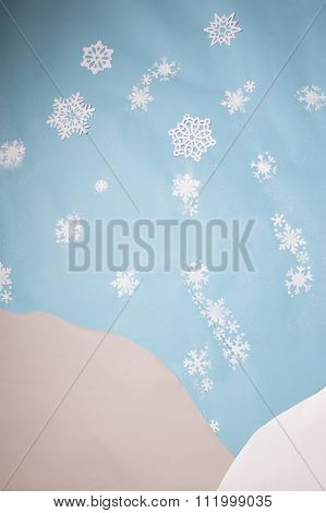 white snowflakes on blue background set