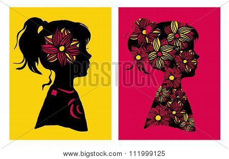 Two Silhouttes Of Girl With Flower Pattern. Vector Illustration. Design Elements.