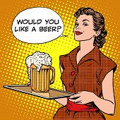Постер, плакат: The waitress beer on a tray