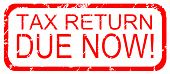image of self assessment  - Rubber stamp design stating Tax Return Due Now - JPG