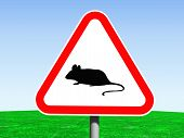 stock photo of fancy mouse  - fancy 3d illustration of a road sign representing beware of mice - JPG