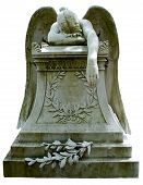 picture of grieving  - A grieving angel crying over a monument decorated with leaves - JPG