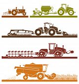 Постер, плакат: Set of different types of agricultural vehicles and machines harvesters combines and excavators Ic