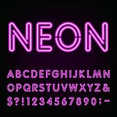 Purple Neon Light Alphabet Font. poster