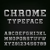 Beveled Chrome Alphabet Vector Font. poster