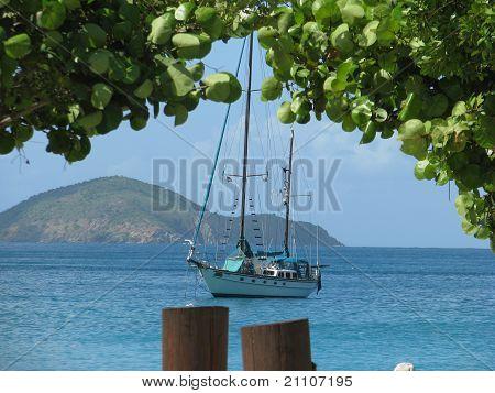 Sailboat in Magen's Bay St. Thomas Caribbean