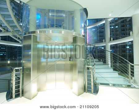 Transparent elevator and staircase