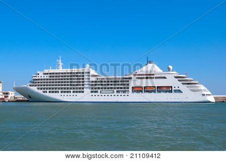 The Big Tourist Liner In A Port