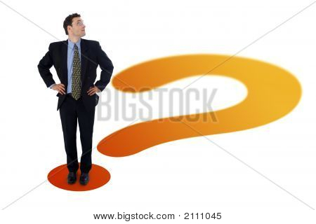 Businessman On Question Mark