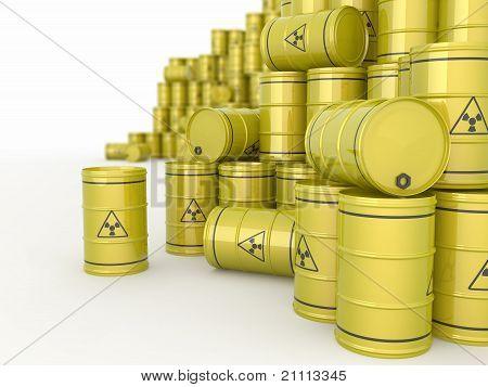 Um barris de resíduos radioactivos.