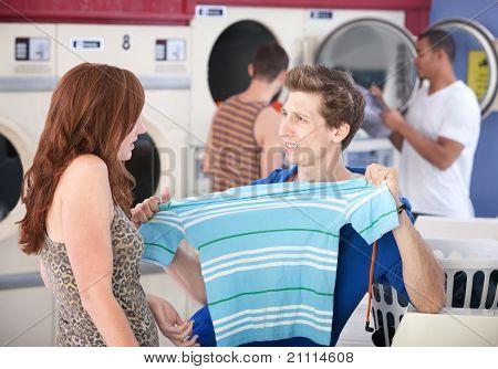 Man Stretching Shrunken T-shirt