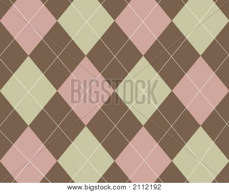 Tan, Pink And Brown Argyle