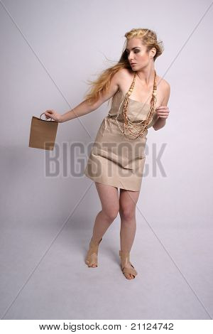 Fashion shot of woman in eco friendly clothes