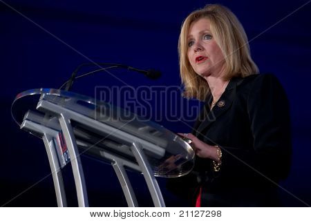 NEW ORLEANS, LA - JUNE 18: U.S. Congressman Marsha Blackburn of Tennessee addresses the Republican Leadership Conference on June 18, 2011 at the Hilton Riverside New Orleans in New Orleans, LA.