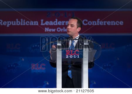 NEW ORLEANS, LA - JUNE 18: Republican National Committee Chairman Reince Priebus addresses the Republican Leadership Conference on June 18, 2011 at the Hilton Riverside New Orleans in New Orleans, LA.