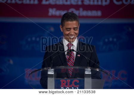 NEW ORLEANS, LA - JUNE 18: Reggie Brown, a Barack Obama impersonator, appears at the Republican Leadership Conference on June 18, 2011 at the Hilton Riverside New Orleans in New Orleans, LA.