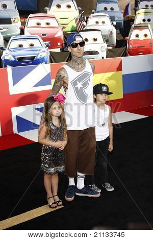 LOS ANGELES - JUNE 18: Travis Barker at the Premiere of Walt Disney Pictures' 'Cars 2' at the El Capitan Theatre, California on June 18, 2011.