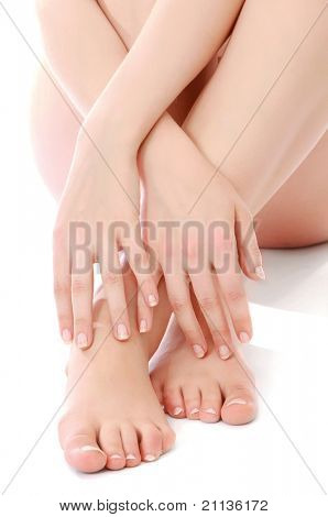 A woman massaging her feet, closeup