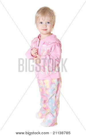 Cute Baby Girl Looks Into The Camera Isolated On White