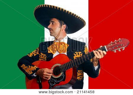 Charro Mariachi playing guitar in Mexico flag background