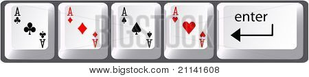 Four aces poker hand card symbols on computer keyboard keys