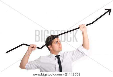 A picture of a handsome businessman holding an arrow going up over white background