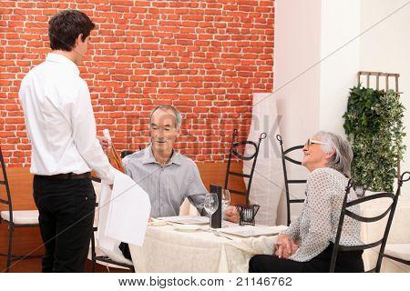 seniors in a restaurant