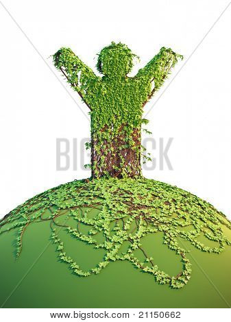 symbolic tree man on the planet, 3d render