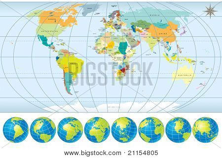 World Map with Globes, detailed vector illustration, including all Names of Countries and Capitals, elements separated