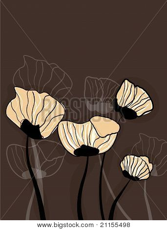 Brown Background With Flowers