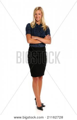 Portrait of beautiful businesswoman isolated over white background